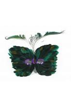 maschera stile veneziano con piume a dominante verde