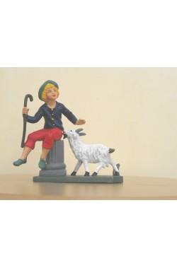 Figurina Presepe in plastica (cm 7 o 10 s.q.) Pastore su colonna con pecore