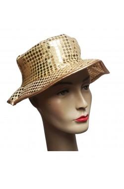 Cappello paillettes oro floscio