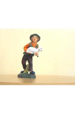 Figurina Presepe in plastica (cm 7 o 10 s.q.) Pastore con pecora su pianta