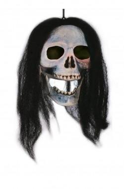 Decorazione Halloween da appendere teschio con capelli
