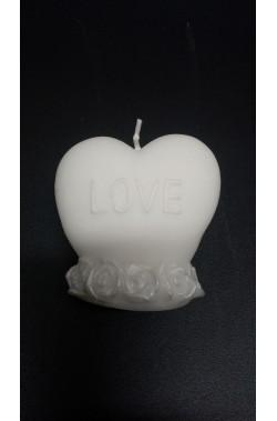Candela bianca a cuore San Valentino I Love You larghezza 7cm