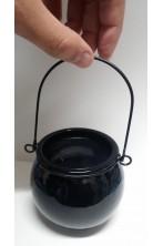 Calderone strega 7 cm diametro in vetro soffiato nero