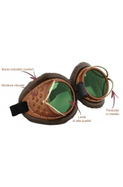 Occhiali pilota steampunk metallizzati. Lente di alta qualità verde