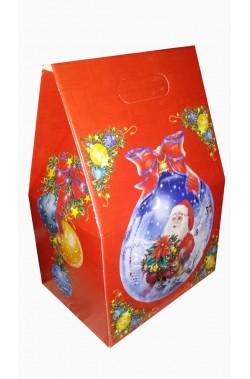 Scatola per regali di Natale in cartone robusto pieghevole a forma di casetta.