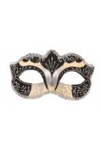 Maschera in Stile Veneziano donna color nero e argento