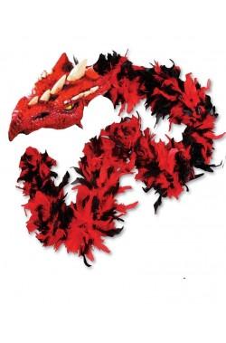 Boa di piume rosso e nero con testa di drago gr 45 circa 190 cm