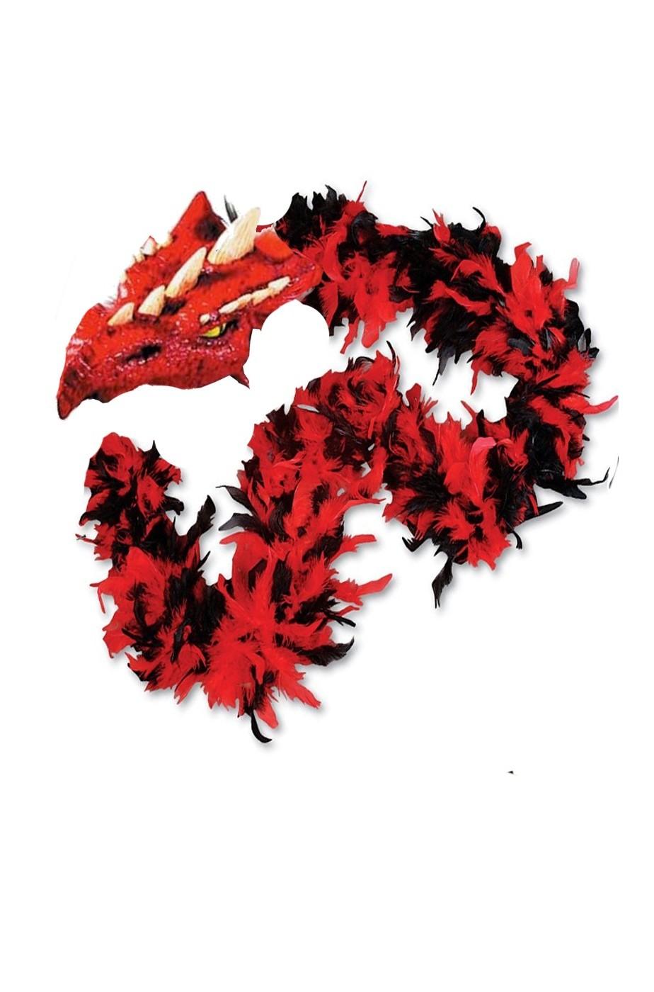 Boa di piume rosso e nero con testa di drago