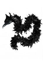Boa di piume nero con testa di drago 45 gr circa 190 cm