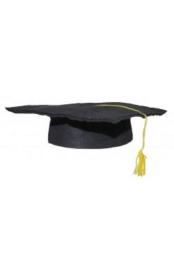 Cappello tocco laureato in stoffa morbida con alamaro