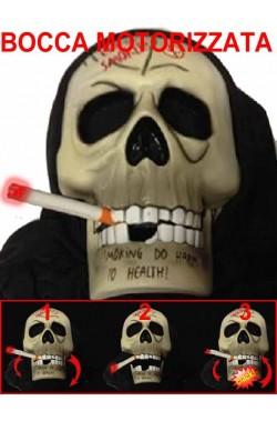 Maschera teschio indossabile che apre la bocca motorizzata e si illumina