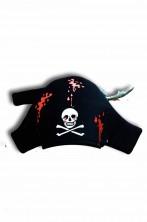 Cappello da pirata nero con teschio a feluca halloween horror