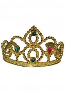 Corona in plastica a tiara con pettinini dorata o argentata con diadema