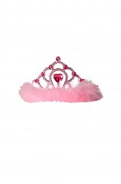 Coroncina principessa a tiara con marabou viola e cuore