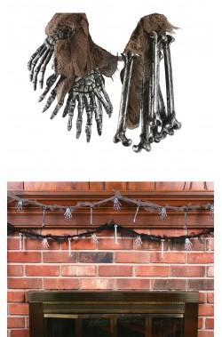 Decorazione Halloween da appendere ossa e mani sudario grigia