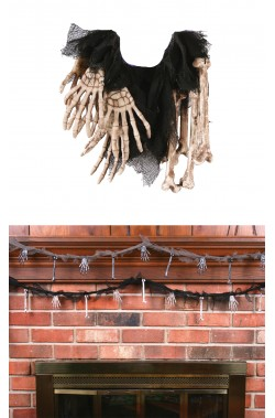 Decorazione Halloween da appendere ossa e mani sudario nero