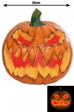 Allestimento Decorazione Halloween Zucca che ride con luce interna a LED