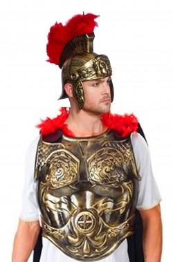Set pettorale armatura antico romano, mantello ed elmo