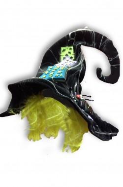 Cappello da strega con parrucca ragnatela e grosso ragno