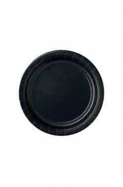 Piatti Party carta neri 8 piatti, 18cm
