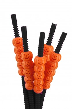Set 5 cannucce Halloween nere con zucchette arancio