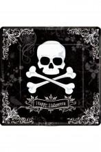 Piatti Party piani carta Halloween Pirati con teschio (18 piatti, 23cm)