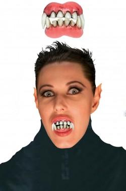 Dentiera rigida doppia superiore e inferiore denti vampiro o mostro