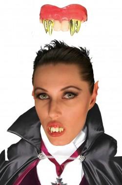 Dentiera rigida vampiro con doppi canini oro