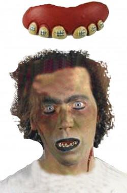 Dentiera mostro in latex morbidissimo denti incapsulati con apparecchio numero 4