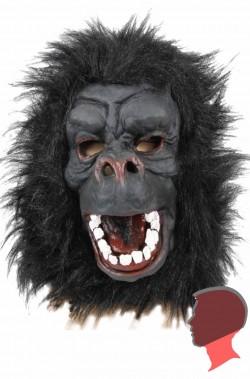 Maschera gorilla in lattice con pelo bocca spalancata