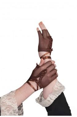 Guanti senza dita marroni in rete steampunk, vittoriana, burlesque