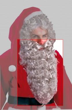 Barba Babbo Natale Lunghissima Riccia Grigia cm 40 anche da vecchio