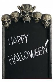 Lavagna per menu Halloween a forma di lapide con teschi cm 52x35 con gessetti
