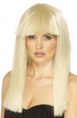 Parrucca donna lunga liscia con frangia Lady GAGA