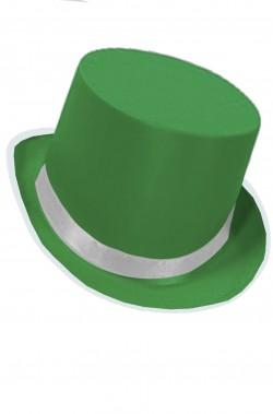 Cilindro verde in feltro altezza 13 cm