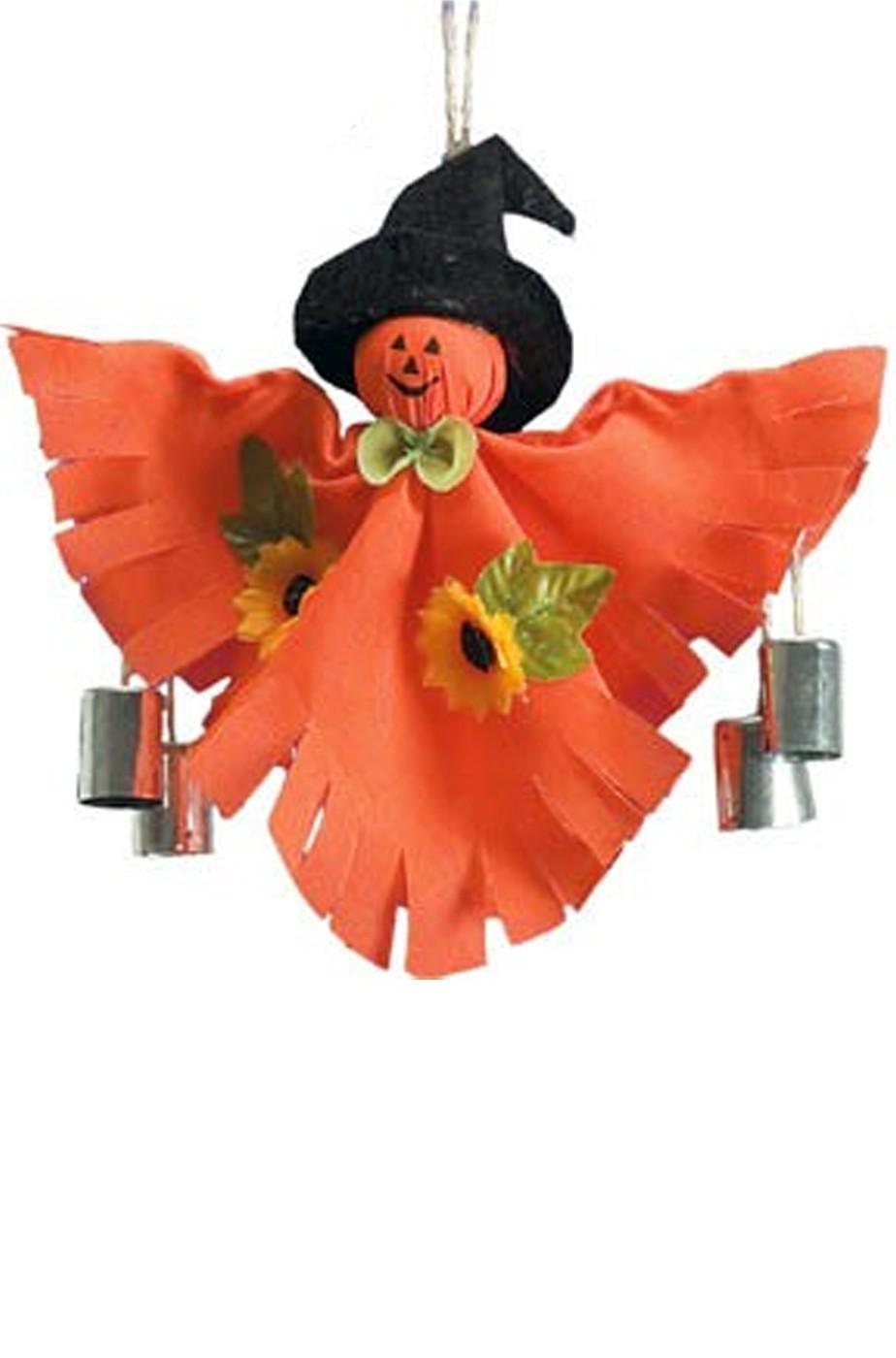 Allestimento Halloween decorazione zucca con sonagli da appendere cm 30