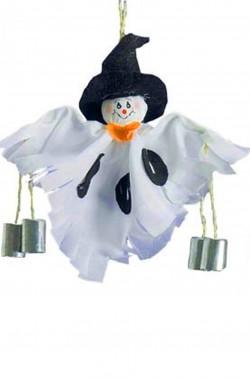 Allestimento Halloween decorazione fantasmino con sonagli da appendere cm 30