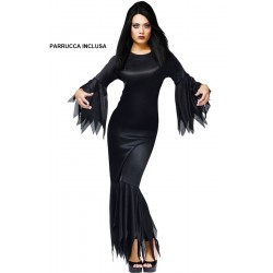 Costume Madame Morticia CON PARRUCCA