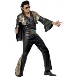 Costume Elvis Presley The King nero e oro con mantella