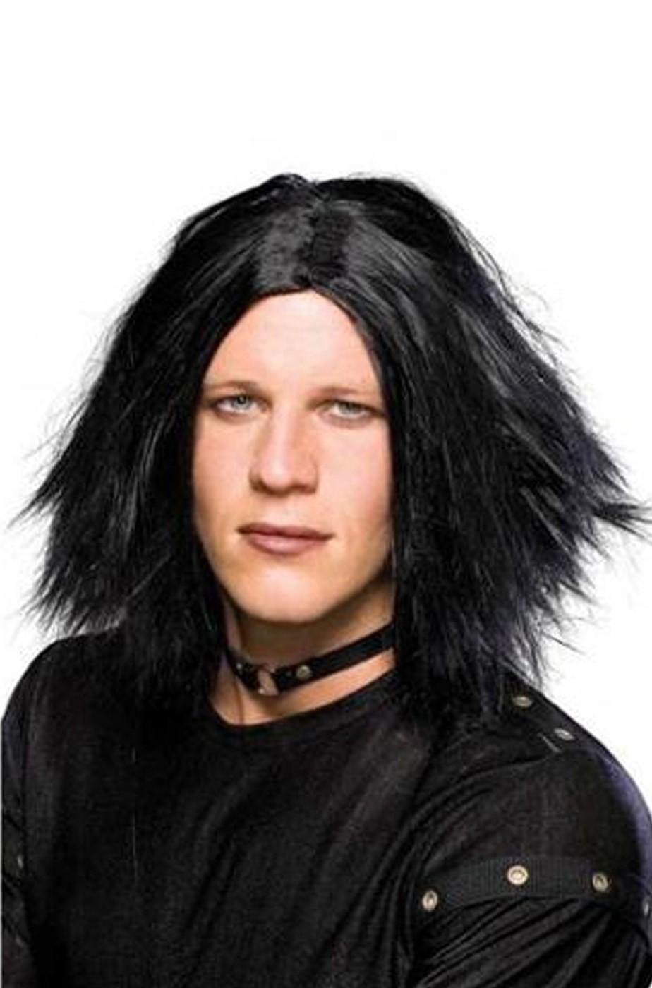 Parrucca uomo nera lunga liscia senza frangia emo o Il corvo