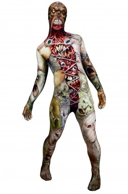 Costume Morphsuit Horror Facelift  zombie 2nd skin seconda pelle M
