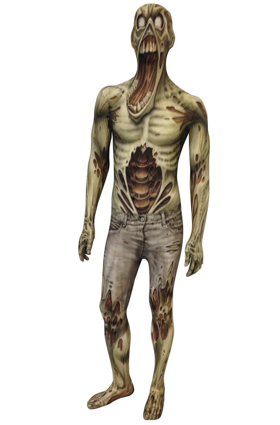 Costume Halloween adulto bocca urlante zombie Morphsuit