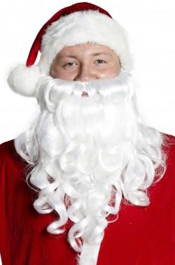 Barba Babbo Natale bianca riccia boccoli lunga circa 35 cm