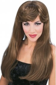 Parrucca donna marrone lunga liscia con frangia