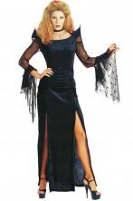 Costume donna vampira vedova nera strega sacerdotessa malefica o mortisia