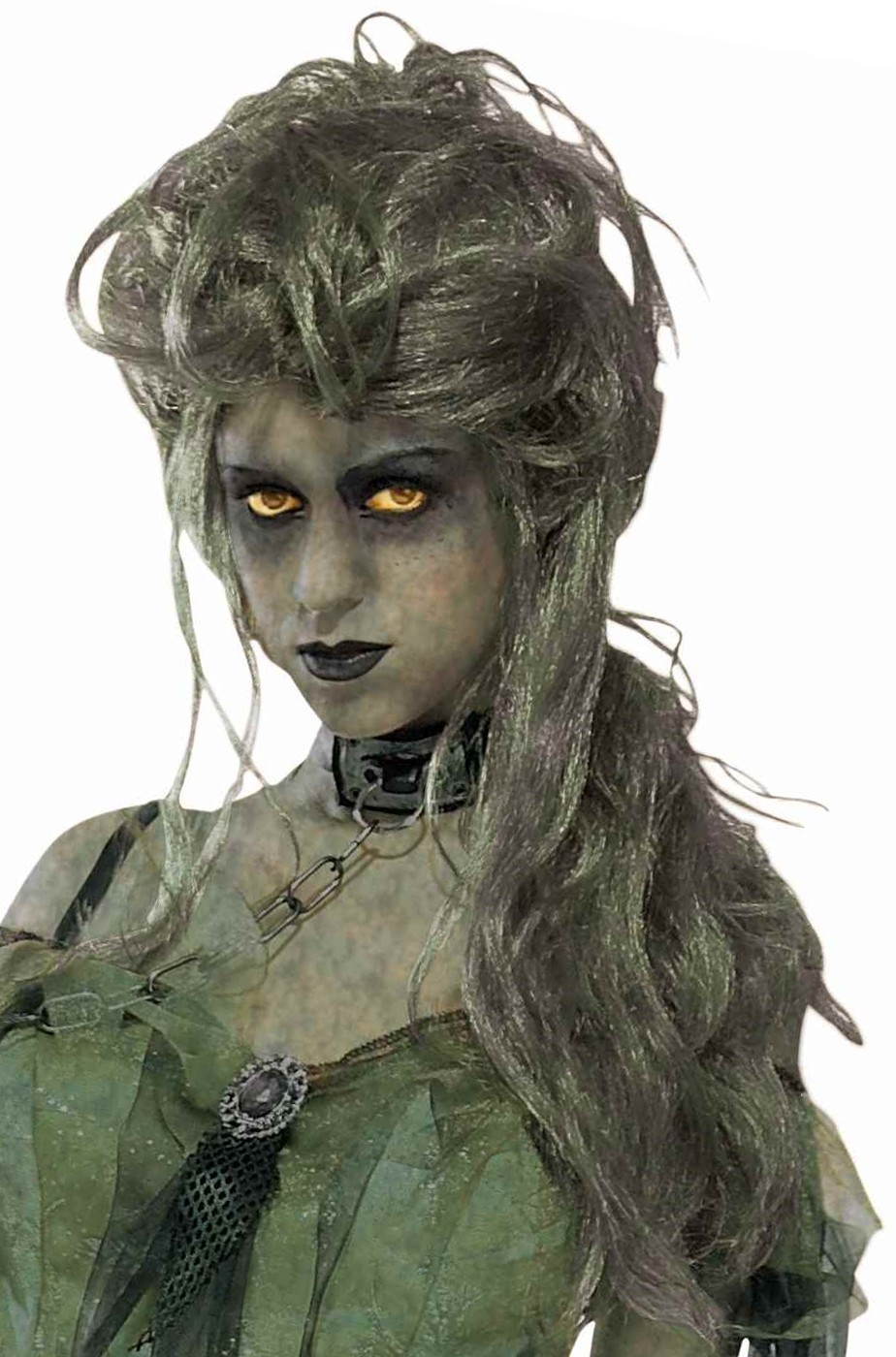 Parrucca donna lunga verde zombie vampira elfa dei boschi
