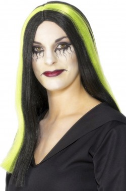 Parrucca donna nera e verde lunga strega
