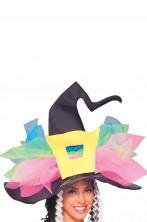 Cappello da strega nero con fiocco multicolore