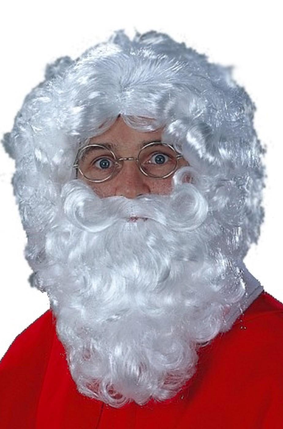 set barba baffi eParrucca bianche babbo natale lunghezza circa 25 cm