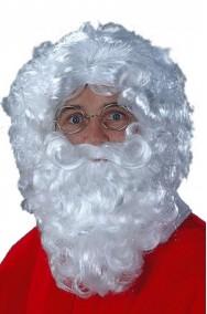 set barba baffi e parrucca bianche babbo natale lunghezza circa 25 cm